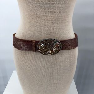 Streets Ahead Leather Metallic Shimmer Belt Size M